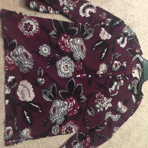 Loft floral burgundy tunic